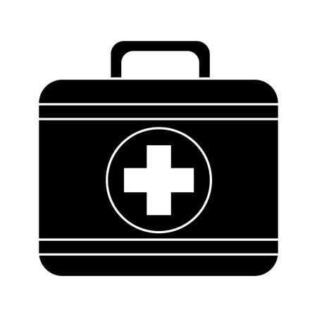 first aid kit icon image vector illustration design  black