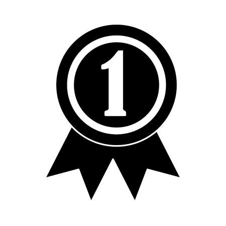 ribbon award first place icon image vector illustration design  black Illustration