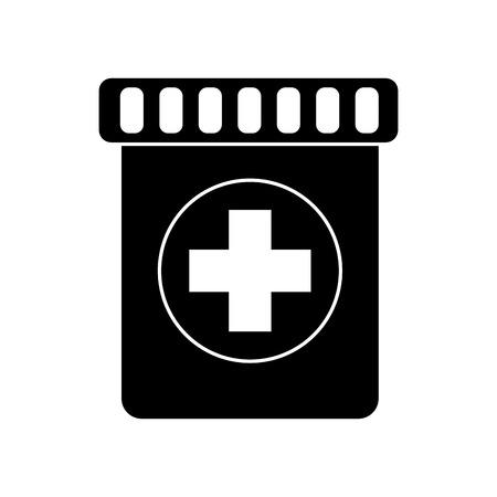 medication bottle icon image vector illustration design  black Illustration