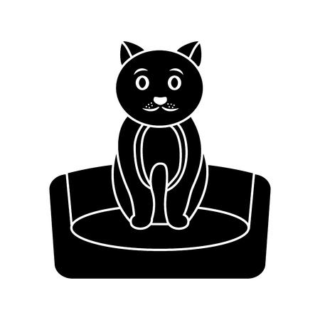 침대에 고양이 만화 애완 동물 아이콘 이미지 벡터 일러스트 디자인 블랙