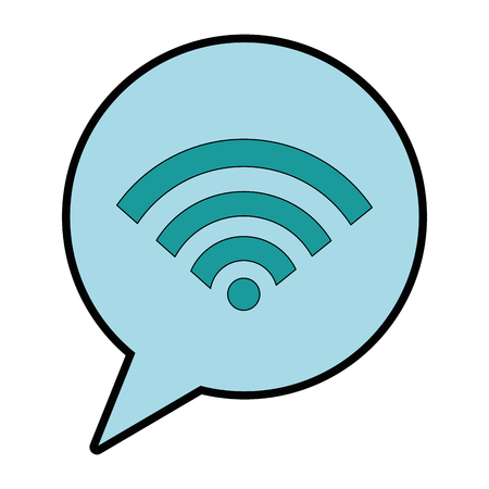 Speech bubble with wifi signal vector illustration design Ilustração