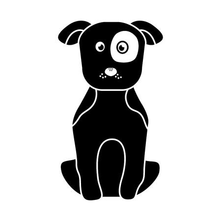 강아지 또는 강아지 애완 동물 아이콘 이미지 벡터 일러스트 디자인 블랙 일러스트