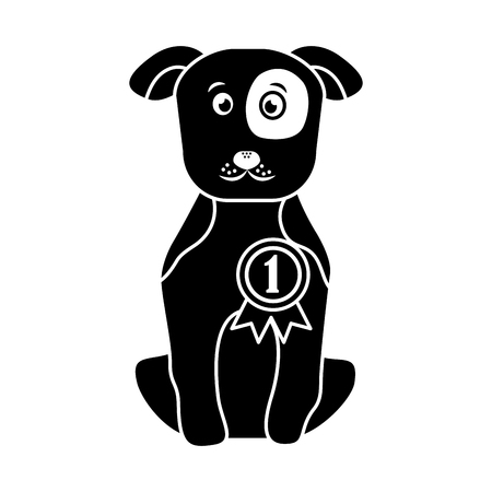 dog or puppy with award ribbon pet icon image vector illustration design  black Çizim