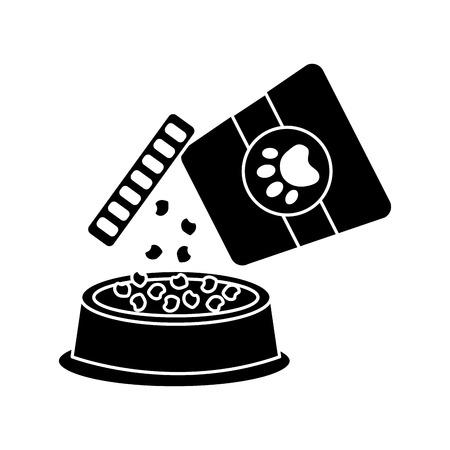 음식 그릇 애완 동물 아이콘 이미지 벡터 일러스트 디자인 블랙
