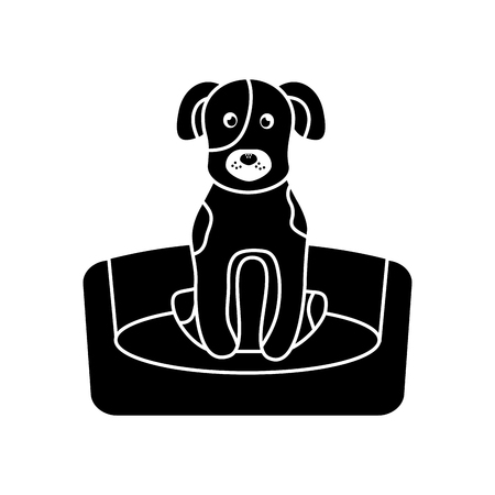 dog or puppy on bed pet icon image vector illustration design  black