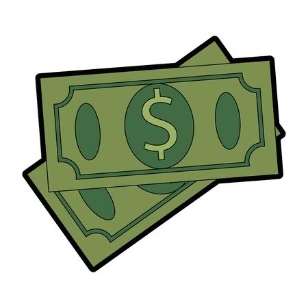 Vector de illustratieontwerp van het rekeningendollar geïsoleerd pictogram