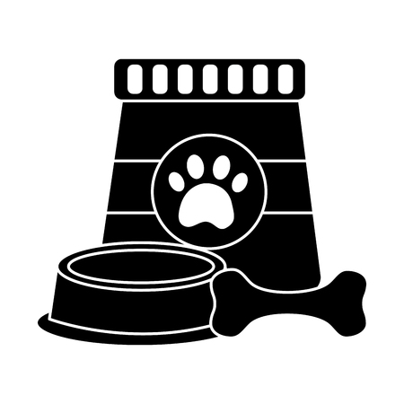 food bowl and bone pet icon image vector illustration design  black