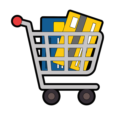 shopping cart with credit card vector illustration design Illustration
