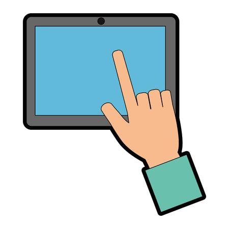 タブレットデバイスベクトルイラストデザインを使用した手