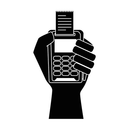 hand with voucher machine isolated icon vector illustration design