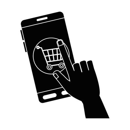 Smartphone device with shopping cart vector illustration design.