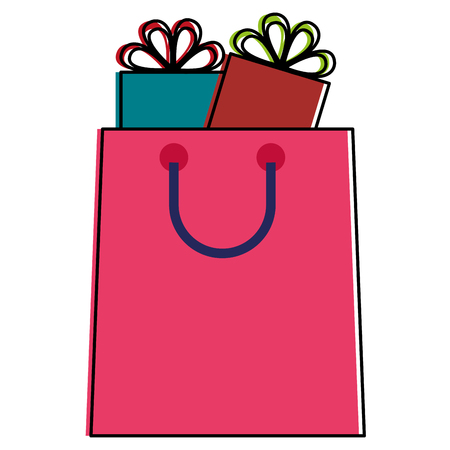Shopping bag with gifts vector illustration design Illustration
