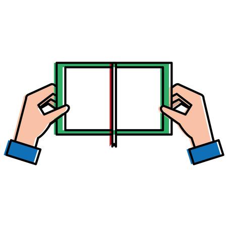 Handen met vector de illustratieontwerp van het boekpictogram. Stockfoto - 92418085