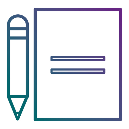 Sheet of notebook with pencil icon vector illustration design. Illustration