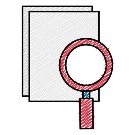 Notebook with magnifying glass vector illustration design Illusztráció