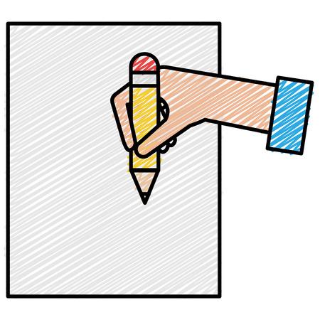 Een ontwerp van de het pictogram vectorillustratie van het hand menselijk schrijvend pictogram