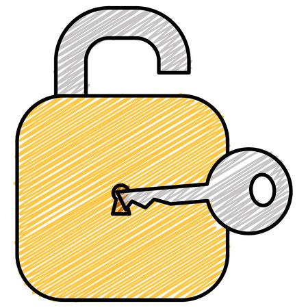 Safe secure padlock with key vector illustration design.
