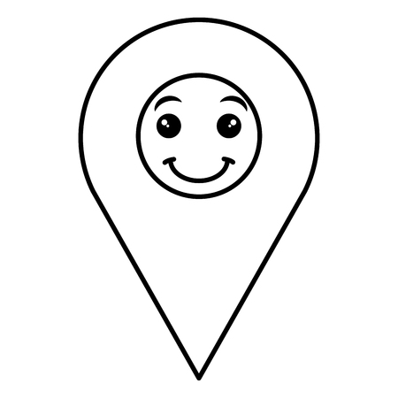 Pin pointer location icon carton character illustration design. Ilustração
