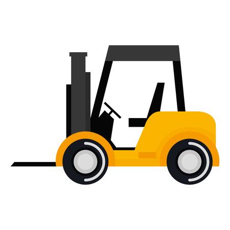 Chariot élévateur à fourche isolé icône illustration design. Banque d'images - 92482268