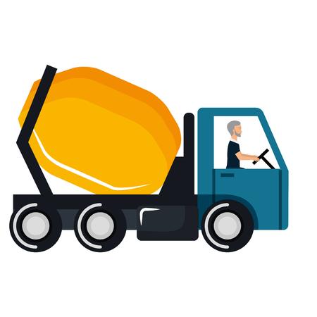 コンクリートミキサートラックアイコンベクトルイラストデザイン  イラスト・ベクター素材