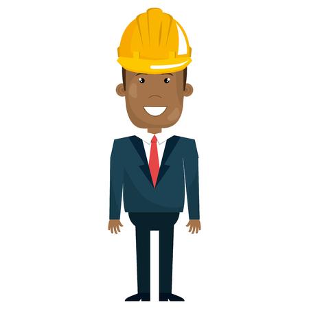 Uomo di colore con progettazione dell'illustrazione di vettore della costruzione del casco Archivio Fotografico - 92417459