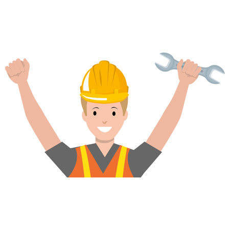 construction worker with wrench avatar vector illustration design