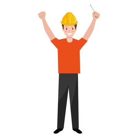construction worker with screwdriver avatar vector illustration design