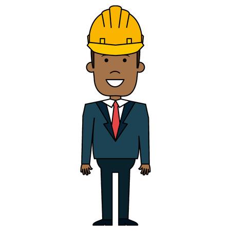 Uomo di colore con progettazione dell'illustrazione di vettore della costruzione del casco Archivio Fotografico - 92420121