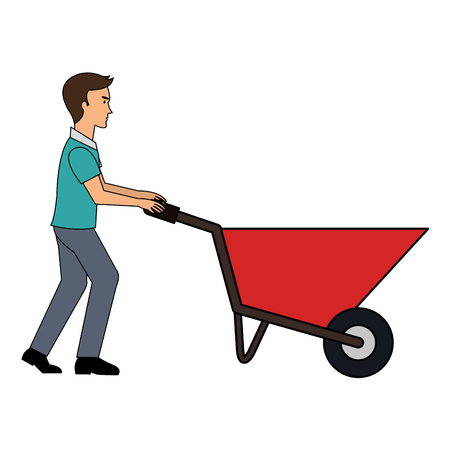 construction worker with wheelbarrow vector illustration design