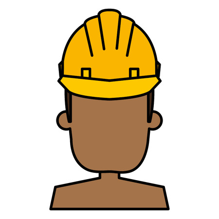 black man with helmet construction vector illustration design Illustration