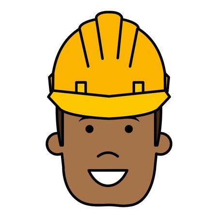 ヘルメット建設ベクトルイラストデザインの黒人男性  イラスト・ベクター素材