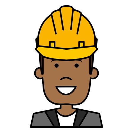 A black man with helmet construction vector illustration design Illustration