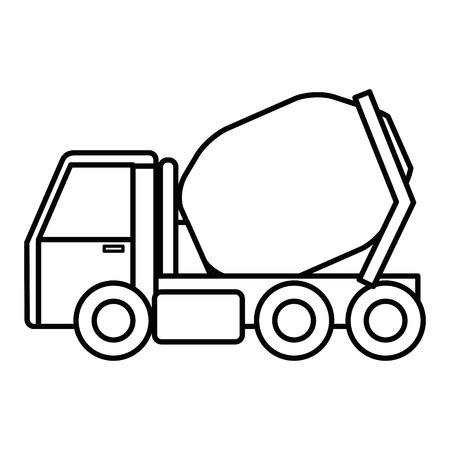 콘크리트 믹서 트럭 아이콘 벡터 일러스트 레이 션 디자인 스톡 콘텐츠 - 92441421