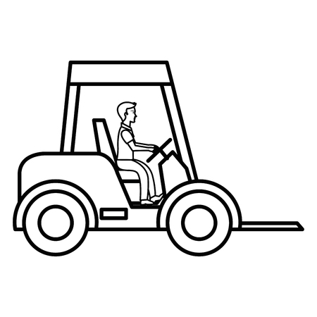 Forklift vehicle isolated icon illustration design.
