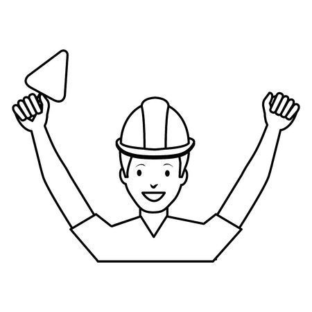 A construction worker with spatula avatar vector illustration design