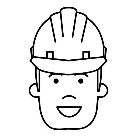 건설 노동자와 헬멧 벡터 일러스트 레이 션 디자인. 일러스트