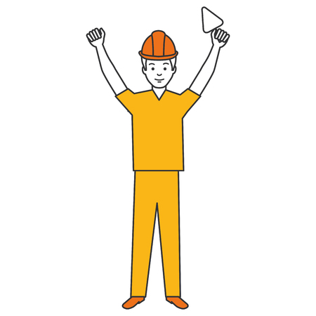construction worker with spatula avatar vector illustration design