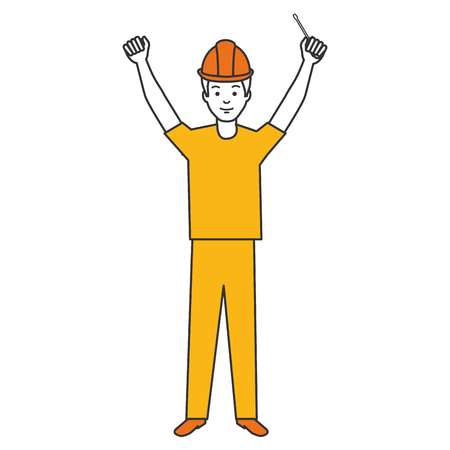 construction worker with screwdriver avatar vector illustration design