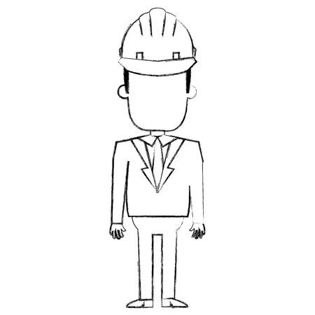 ヘルメットベクトルイラストデザインの建設作業員