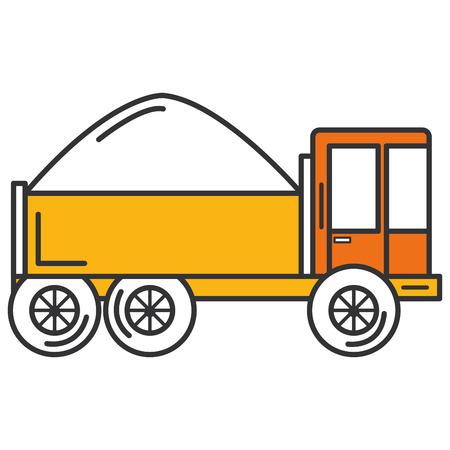 truck dump with concrete vector illustration design Illustration