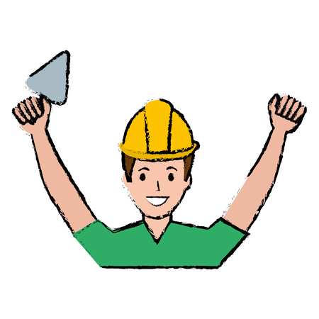 construction worker with spatula avatar vector illustration design
