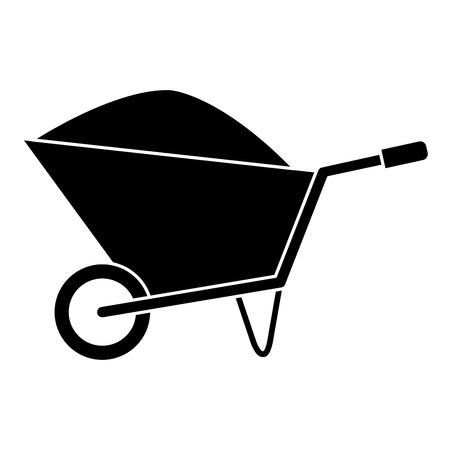Wheel barrow with sand vector illustration design. Illustration