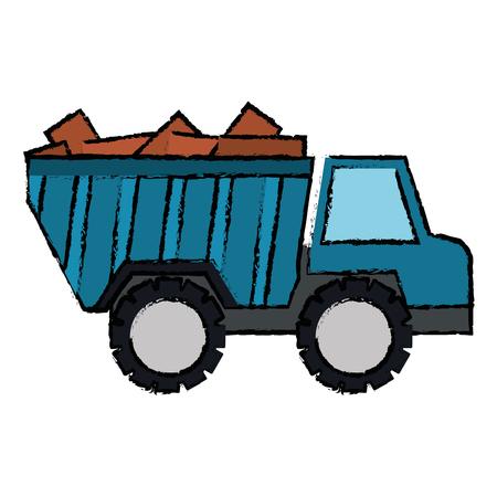 Truck dump with bricks vector illustration design