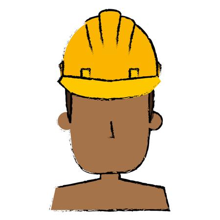 헬멧 건설 벡터 일러스트 디자인 흑인 남자