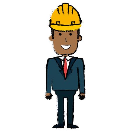 zwarte man met helm bouw vector illustratie ontwerp Stock Illustratie