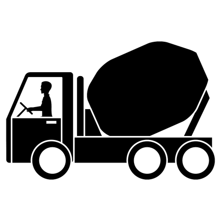 Concrete mixer truck icon illustration design.