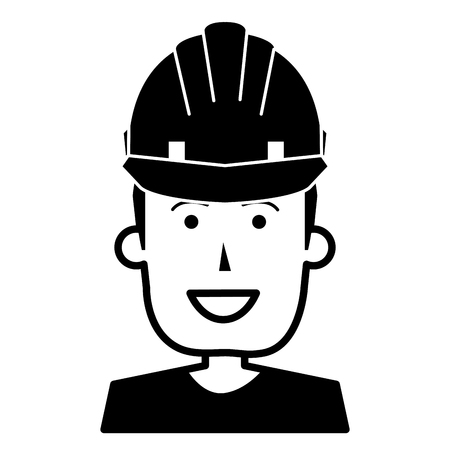 Construction worker with helmet vector illustration design. Illusztráció