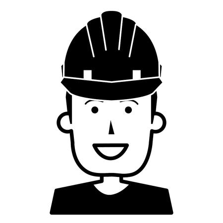 Muratore con progettazione dell'illustrazione di vettore del casco. Archivio Fotografico - 92501969