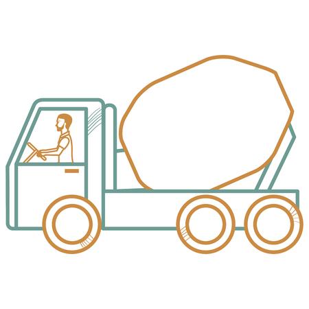 コンクリート ミキサー トラック アイコン ベクトル イラスト デザイン。  イラスト・ベクター素材