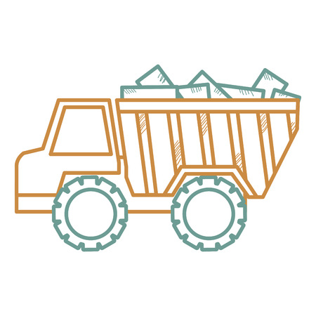 truck dump with bricks vector illustration design Illustration